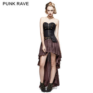 Q-311 Retro Strapless Tube Top Dress High Low Lace Pleated Dress