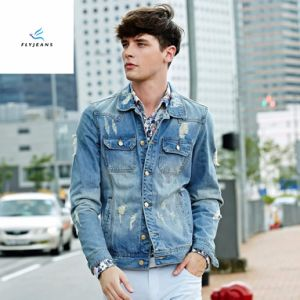 China New Style Men Long Sleeve Light Blue Denim Jackets With