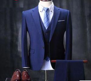 China Italian 100% Wool Suit Hand Made Men Navy Blue Suit Mtm Custom ...