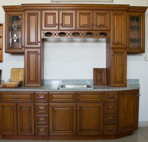 American Style Walnut Color Kitchen Cabinet (country style) pictures & photos