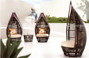 Rattan Egg Swing Chair with Side Table