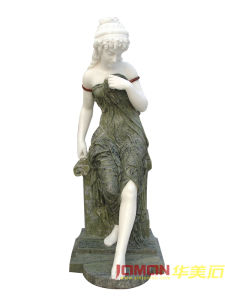 Green White Marble Greek Women Statue