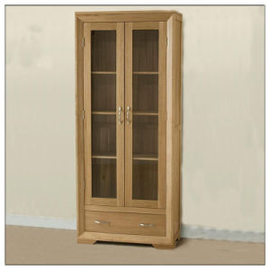China Solid Oak Glass Display Cabinet Wooden Living Room Furniture