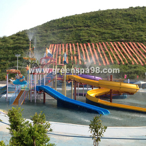 Outdoor Kid′s Water Playground Structure with Water Slide, Water Spray, Climb Net. pictures & photos