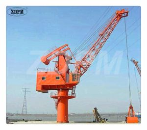 Floating Crane Working with Grab for Handling Bulk Materials
