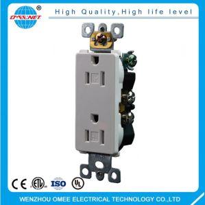 15A 125V ETL Approved Tamper Resistant Duplex Decorative Electric Receptacle Wall Socket Outlet