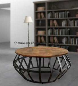 American Wood Round Tea Table, Wrought Iron Sitting Room Hotel Restaurant A  Few Fashion Personality Tea Table (M X3809)