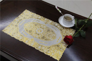 Cheap and Strong PVC Tablemat with Lace Gold Size 30*46cm Factory Wholesale pictures & photos
