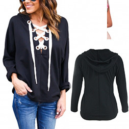 Fashion Women Leisure Casual Bandage Hoody T-Shirt Clothes Blouse pictures & photos