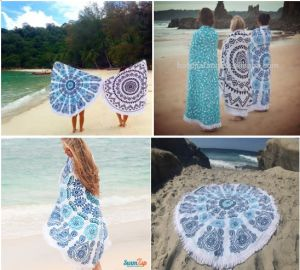 100% Cotton Printed Round Beach Towel with Tassels