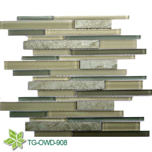 Cinerous Strip Glass Mosaic Tiles (TG-OWD-908)