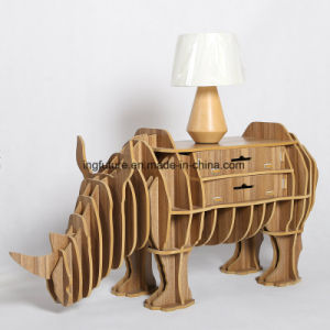 Assemble Toy Decorative Wooden Rhinoceros Furnishing with Drawers