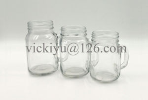 450~500ml Glass Drinking Mason Jar with Metal Cap and Paper Straw