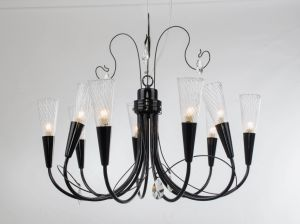 Russia Top Sale Iron Wrought Glass Shade Chandelier for Indoor