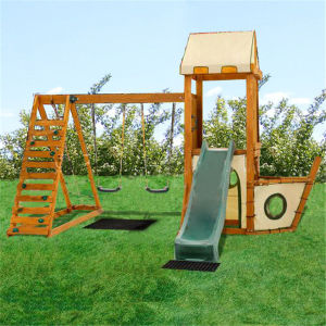 High Quality Playground Wooden Children Swing and Slide Set (08)