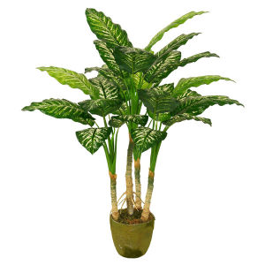 Natural Looking Artificial Plants of 100cm Dieffenbachia with Green Plastic Pot, 4 Sterms, 29 Lvs