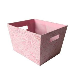 Trapezoid Fabric Storage Basket Box With Built In Handle, Multicolor