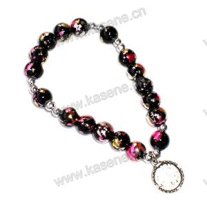 8mm Glass Beads Rosary Bracelet, Fashion Bracelet