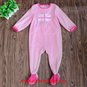 Pink Mirofleece Romper, Rubber Print Jumpsuit for Babies