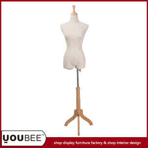 Half Body Tailor Torso, Female Mannequin with Wooden Tripod Stand