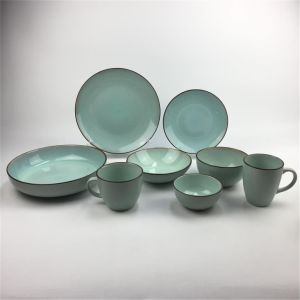 China 16pcs Dinner Set Reactive Colorful Stoneware Ceramic