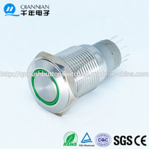 Qn16-C1 Green Ring 12V LED Push Button Switch pictures & photos
