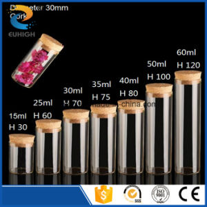Customized Diameter 30mm Tube Style Glass Bottle with Cork Lid
