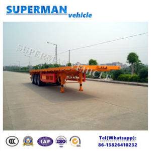 50-60t 40FT 3 Axle Flatbed Container Semi Trailer for Transport pictures & photos