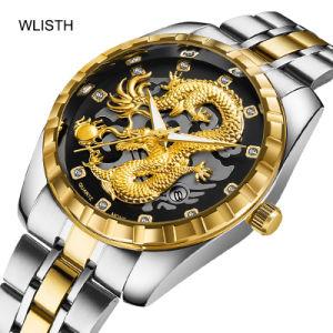 Wlisth 1853 мужчин в часы Golden Dragon кварцевые часы мужчин роскошь для изготовителей оборудования из нержавеющей стали мужские часы на запястье