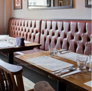 (Dp-4004) pele Chesterfield antigo restaurante de madeira escura para sofá do estande