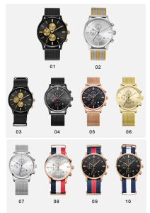 La moda Unisex reloj de pulsera de cuarzo analógico con seis manos 72004