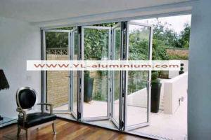 Perfil de aluminio para puerta plegable con vidrio laminado