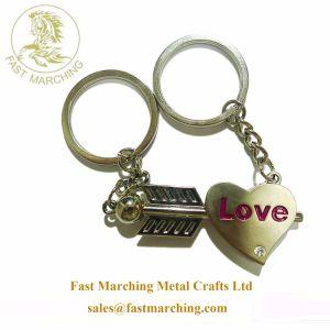 주문 좋은 품질은 거품 심혼 한 쌍 선물에 의하여 새겨진 Keychains를 개인화했다