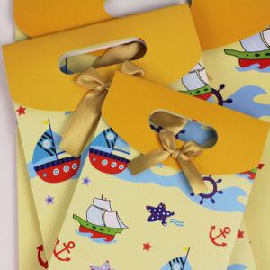 Bolsa de regalo papel adhesivo Bowknot parte de la bolsa de almacenamiento de cumpleaños de caramelo