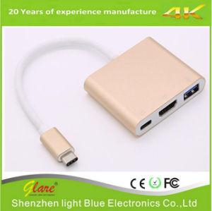 Dispositivo USB 3.1 Tipo C para HDMI USB do adaptador fêmea C para conversor HDMI
