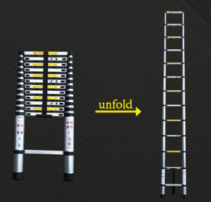 de Nieuwe Telescopische Ladder van 3.8m met Certificaat en131-6