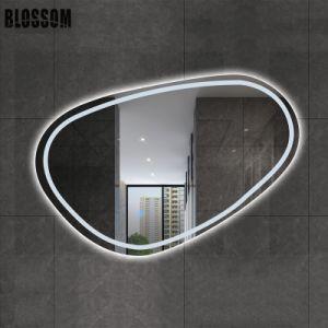 Forma irregular luz trasera LED inteligente de cuarto de baño decoración espejos de pared