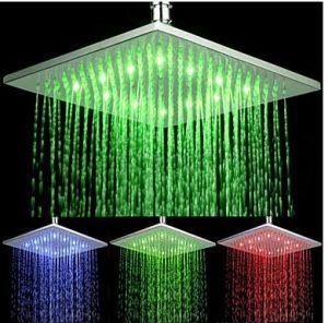 200mm carré vert/bleu/chefs de douche à LED rouge
