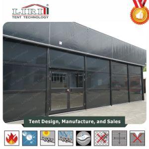 La estructura de la Carpa temporal para la calle de tiendas de venta