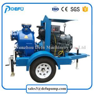 Las dos ruedas, motor Diesel montado las bombas de aguas residuales para inundar