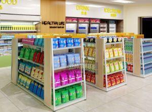 Stahl- und hölzerne materielle Supermarkt-Regal-HilfsLadenregale