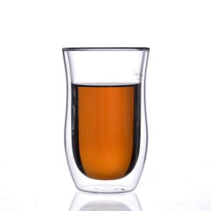 Dünnes Taillen-doppel-wandiges Glascup-Glascup/Becher