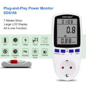 Fabrik-Preis schließen Energien-Energie-Messinstrument-Spannung Ampere-Elektrizitäts-Verbrauch-Monitor-Wand-Kontaktbuchse-Anschluss mit grosser LCD Bildschirmanzeige Digital-an