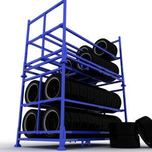 La Chine de haute qualité métal pliable Rack de stockage de pneus pour l'entrepôt