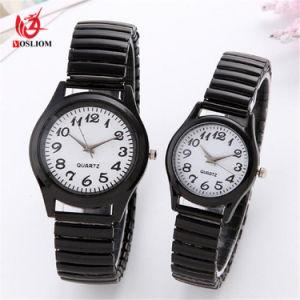 カップルの手首の恋人の腕時計の人および女性の合金の偶然の水晶服Watch#V379