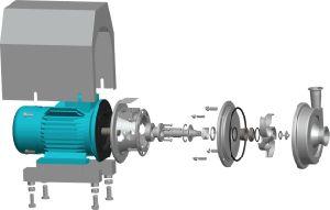 Pompa centrifuga sanitaria una presa da 45 gradi per la farmacia