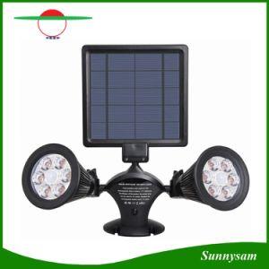 3W 12 LEDの回転二重ヘッド太陽エネルギーの動きセンサーLEDのスポットライトの壁の屋外ライト