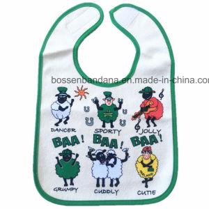 OEMはデザインによって印刷された安い綿のテリーの赤ん坊の胸当ての製造業者をカスタマイズした