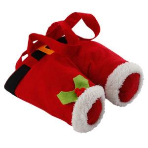 Celebrare i sacchetti rossi del vino della bottiglia del cotone del feltro delle lane dei pantaloni della bretella della decorazione di natale