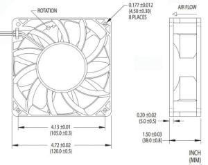 4.7のインチ120mm 12038 4200rpm Bitcoin抗夫のための高速12V DCのブラシレス冷却ファン